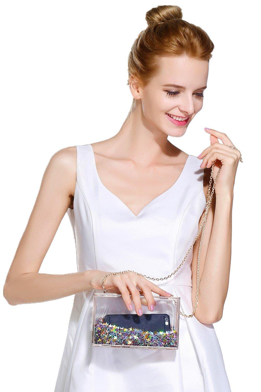 jevenis magical transparent sequins clutch purse evening handbag for party prom bride frolic. Black Bedroom Furniture Sets. Home Design Ideas
