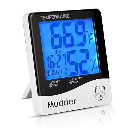 Mudder Digital Termómetro Higrómetro Termómetro Higrómetro Indicador Termómetro de Interior con el Despertador y Fecha,Blanco-negro: Amazon.es: Electrónica