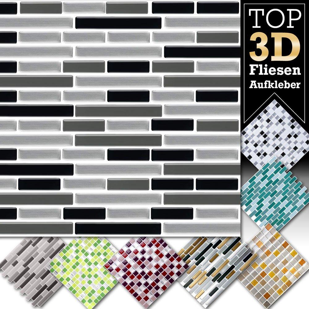 1 pezzo 25, 3 x 3, 7 cm bevuto nero vuoto adesivo per piastrelle Design 29 I Mosaico 3D Mosaico Pellicola in Pellicola Cucina Bagno Sticker Grandora W5423