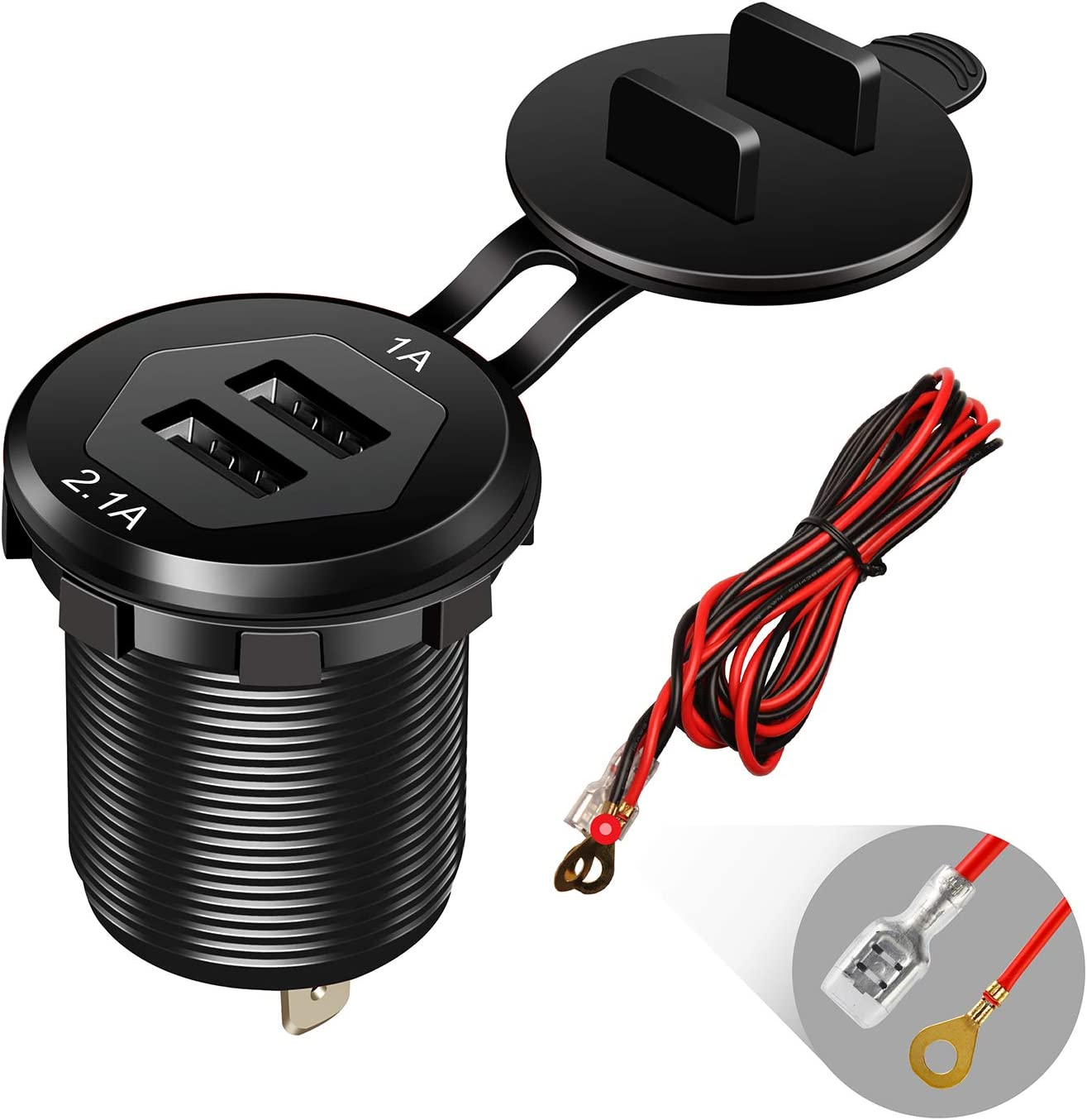 Dual USB Charger Socket Power Outlet 1A /& 2.1A(3.1A) Aluminum Waterproof Car USB Charger with Wire Fuse for Car Boat Marine RV Mobile DIY Kit 1.8M Wire Black