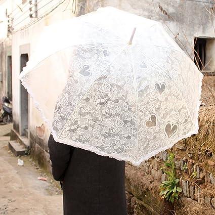 ZJM-umbrella Señora Transparente Paraguas manija Larga Patrón de Encaje Creativo Paraguas PoE (Color