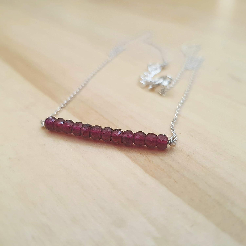 Nat/ürliche rosa Granat Perlen Bar Halskette mit Sterling Silber Kette Januar Geburtstag Schmuck