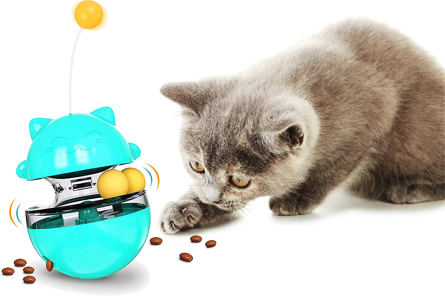 SUJAYU Cat Slow Feeder Ball, Tumbler Design Cat Food Dispenser Slow Eating Interactive Cat Toy Ball Detachable Wand Pet Puzzle Feeder
