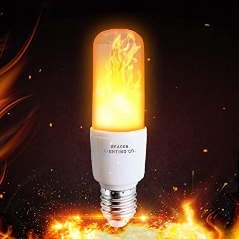 2 Pack LED Flame Effect Fire Light Bulbs 4 Modes With Upside Down Effect Simulated Decorative Flickering Light Atmosphere Lighting Vintage Flaming Lamp 6W