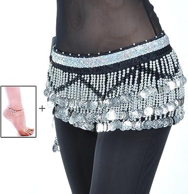 Women Multi-Row 258 Silver Coins Belly Dance Hip Scarf Dance Waist Chain Belt