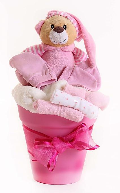 Cesta de regalo para bebé recién nacido, cesta para niña rosa ...