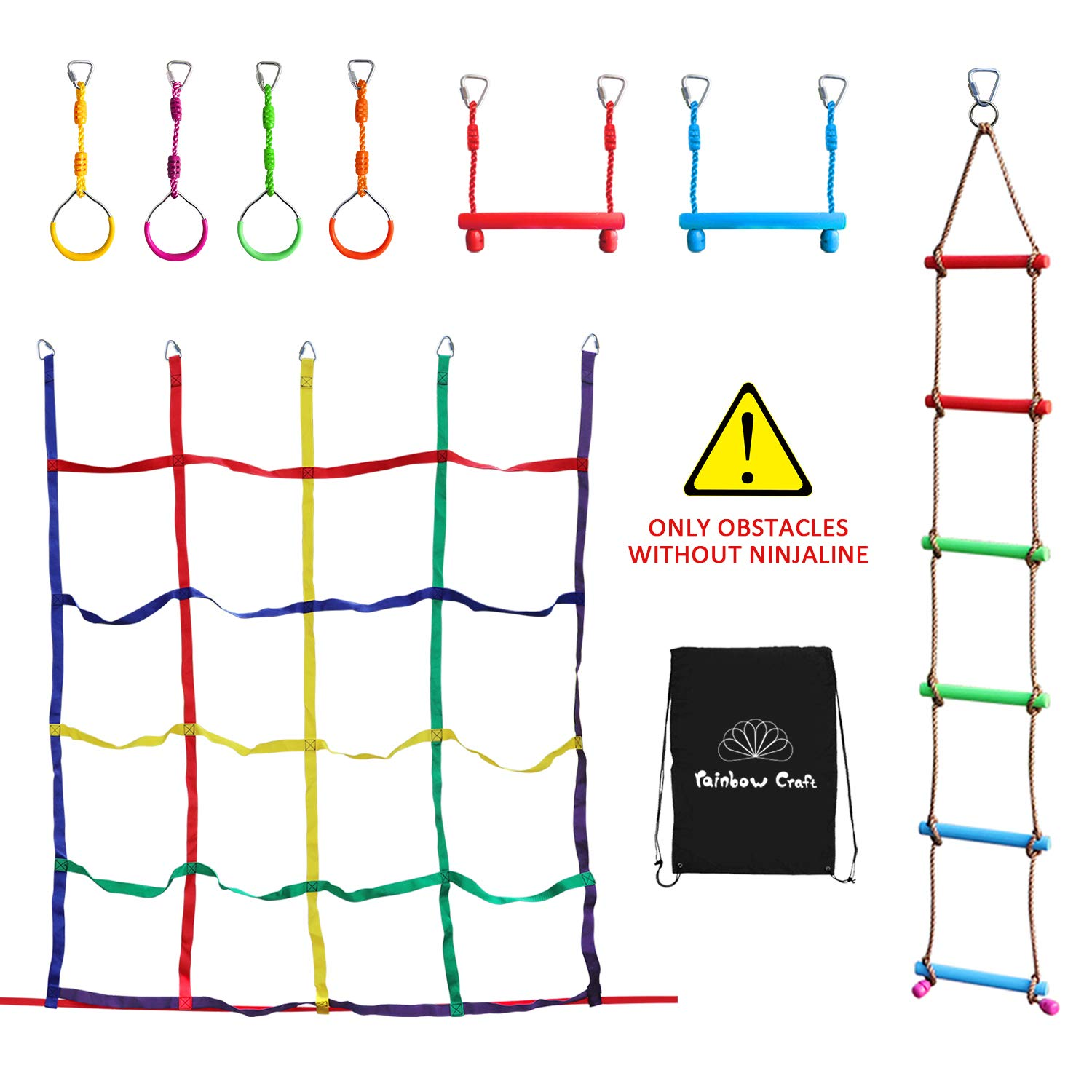 Rainbow Craft Ninja Climbing Attachments for Ninja Obstacle Course - Outdoor Kids Play, 4pc Ninja Rings, 2pc Ninja Trapeze Bars, Climbing Ladder and ...