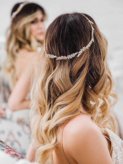 Champagne Gold Flower Hair Wreath Copper Boho Wire Hair Vine Headpiece Silver /'FAWN/' Gold Bridal Headband Wedding Headband
