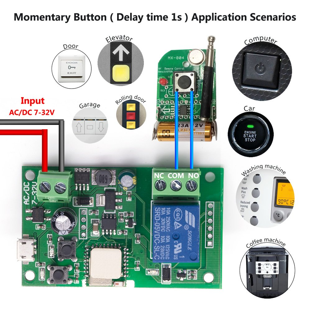 Eachen Wifi Wireless Inching Relay Monentary Self Locking Switch Cyclic Wiring Diagram Module Diy Smart Garage Door Dc