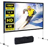 Projector Screen with Stand 100 inch 4K HD 16: 9 Indoor Outdoor Home Theater Backyard Cinema Wrinkle-Free Design and Carry Ba