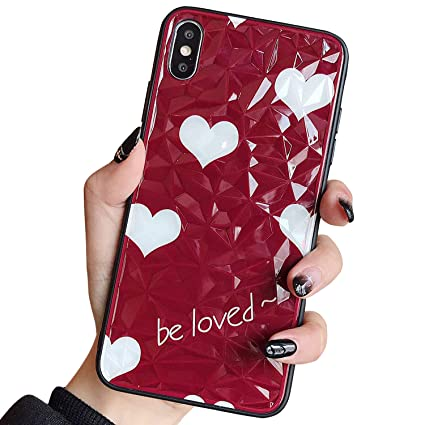 Tempered Glass Case For Iphone X Iphone Xs Gyzcyq 3d Diamond Pattern Soft Silicone Bumper Shock Absorption Love Hearts Pattern Phone Case For Girl