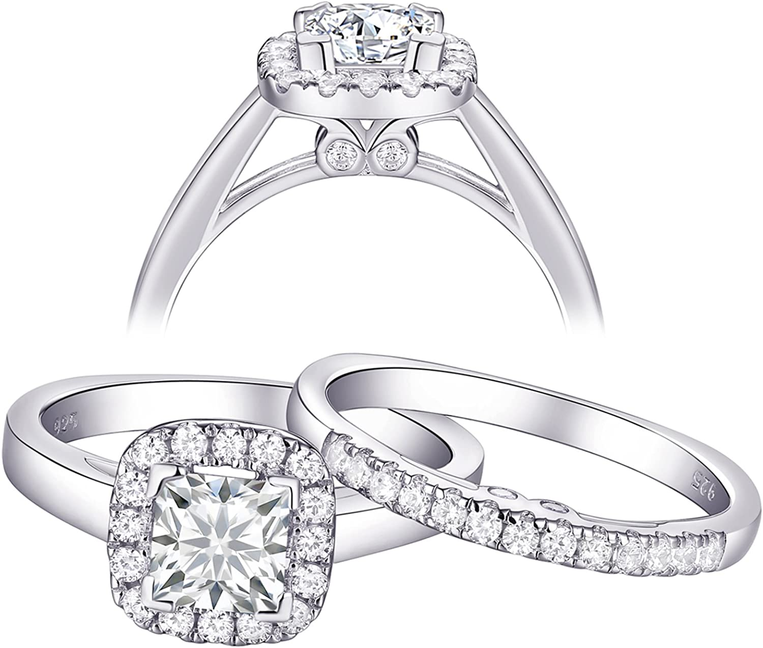 Newshe Size 10 Wedding Engagement Rings Sets for Women 925 Sterling Silver 0.9ct Cz Princess