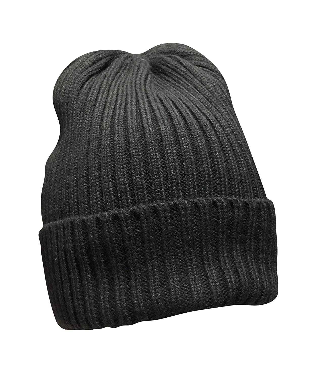 Dark Grey DEKKO Unisex Style Solid Ribbed Knit Beanie Skull Cap