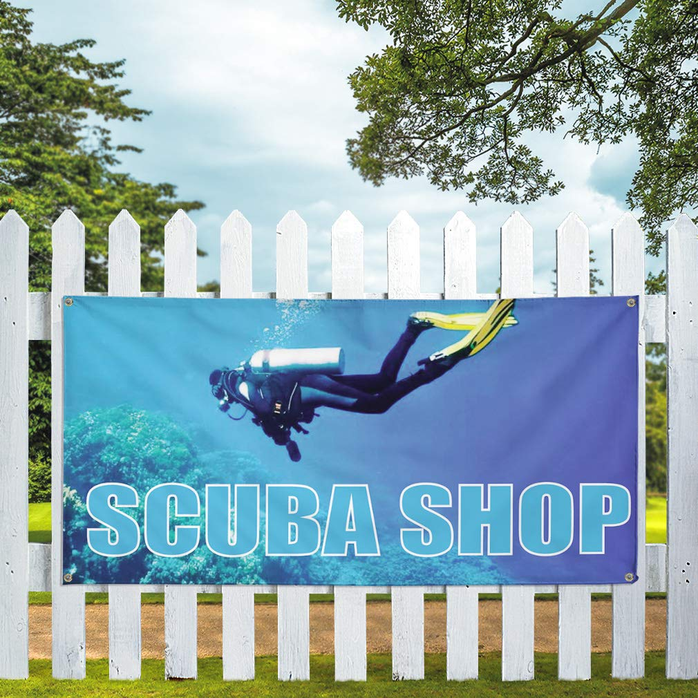 Vinyl Banner Sign Scuba Shop #1 Style A Business Outdoor Marketing Advertising Blue One Banner Multiple Sizes Available 44inx110in 8 Grommets