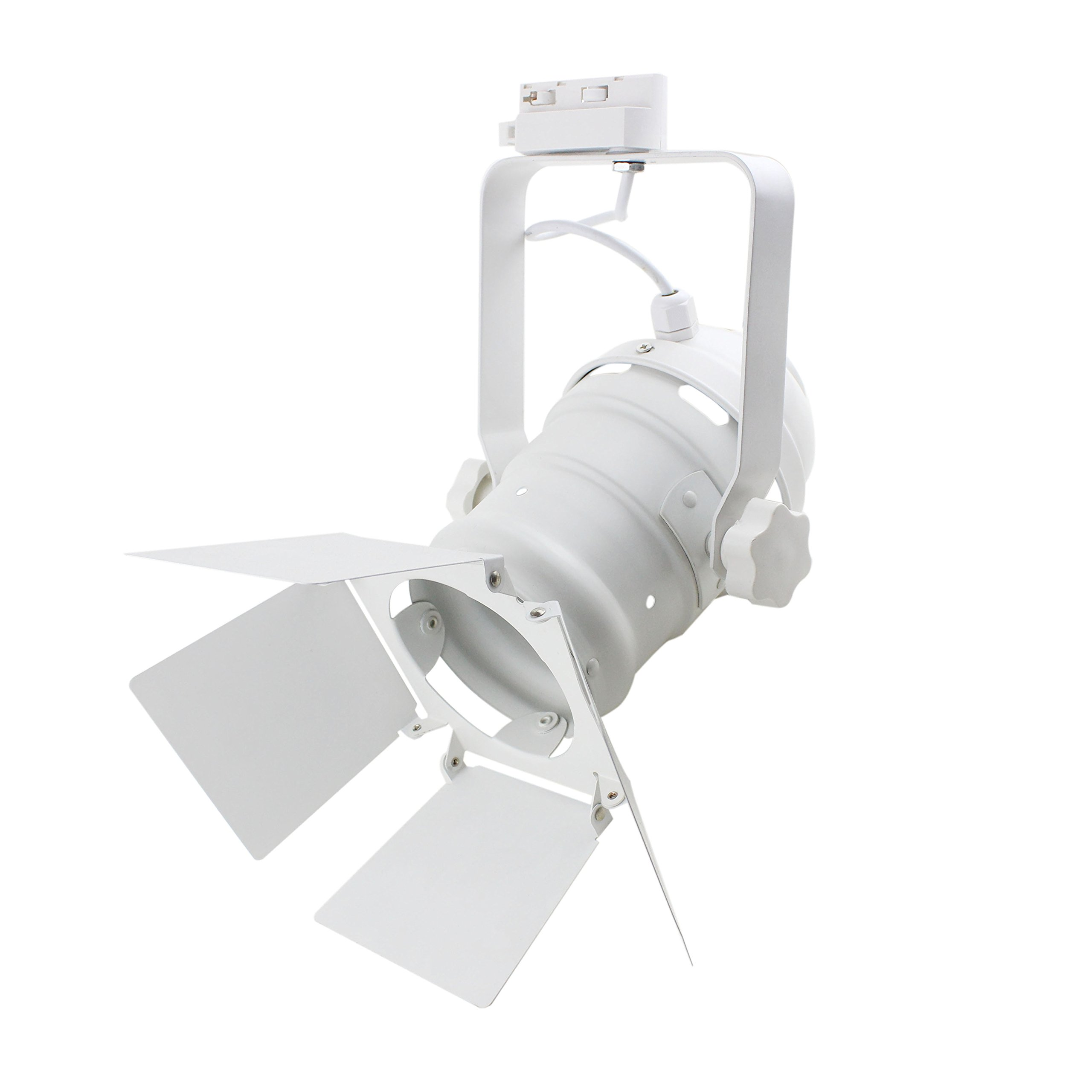 J.LUMI TRK9000W Track Lighting Head | Theater Light with 4-Leaf Barn Doors | Adjustable Tilt Angle | PAR30 Round Can | Compatible Rail RAL1002W (Bulb and Track Not Included)