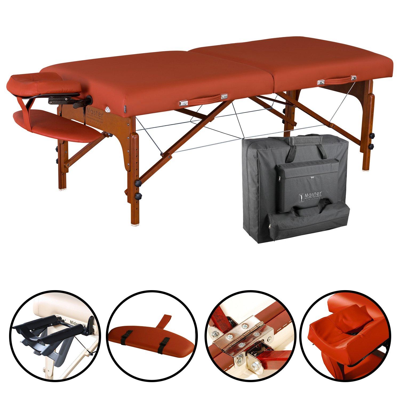 "Master Massage 31"" Santana LX Portable Massage Table Package, Memory Foam Reiki Mountain Red"