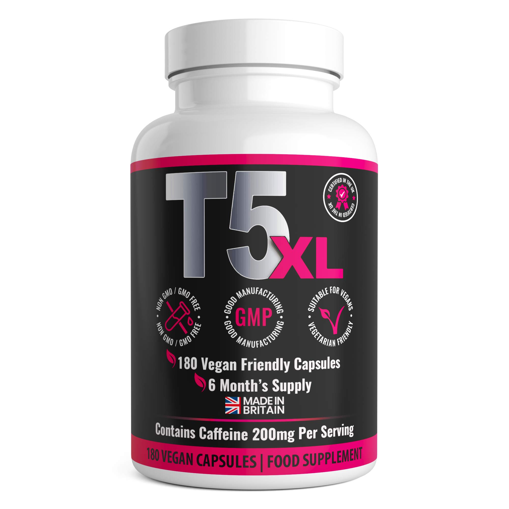 T5 XL Fat Burner 180 Capsules | 6 Months Supply | Weight Loss Fat Burner Diet Pills | UK Made by GirlyFuels for Women & Men | Vegan and Vegetarian Friendly