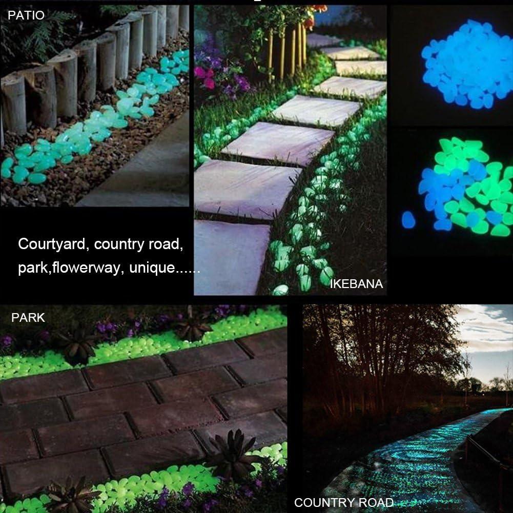 100pcs Fastar 100//200PCS luminoso ciottoli Glow in the Dark Stones Garden pietre decorative per marciapiedi Pathway yard Park Fish Tank decorazione vaso di fiori Dark Blue