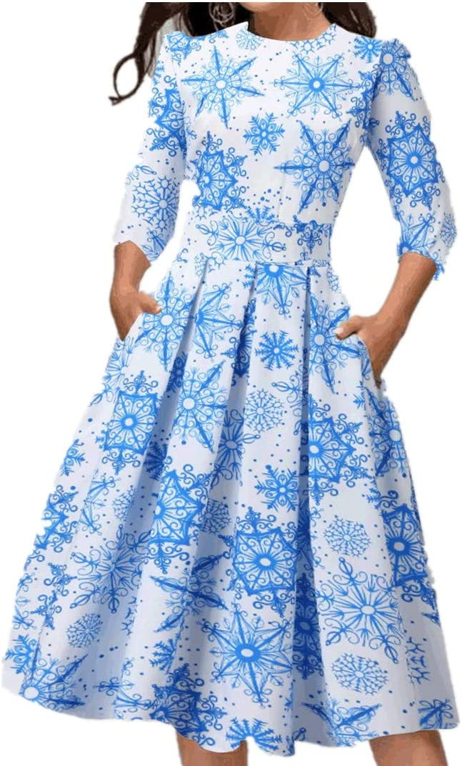 Christmas Women Dress Plus Size Xmas Snowflake Elk Snowman Print 3//4 Sleeve Casual Loose Beach Party Sundress S, Blue