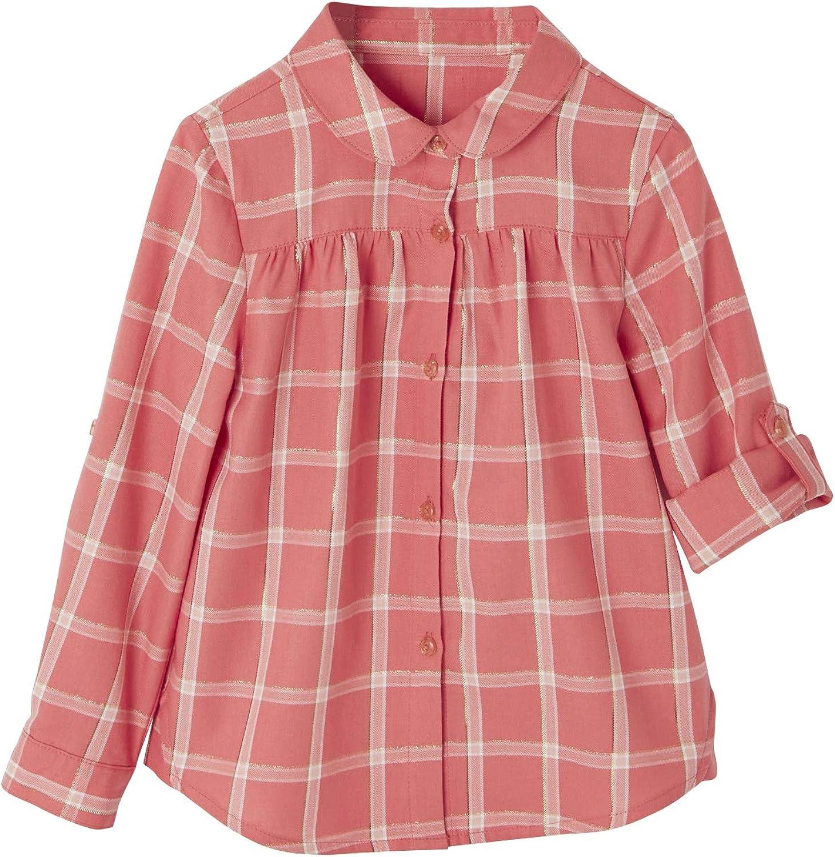 VERTBAUDET Camisa para niña de Cuadros irisados Rosa Medio A Cuadros 12A: Amazon.es: Ropa y accesorios