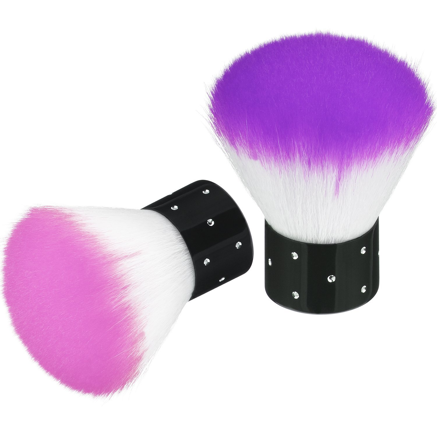 2 Pieces Colorful Soft Kabuki Brushes Nail Arts Dust Cleaner Brush for Makeup or Nail Arts (Purple, Pink): Beauty