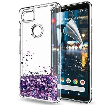 LeYi Funda Google Pixel 2 XL Silicona Purpurina Carcasa con HD Protectores de Pantalla,Transparente Cristal Transparente Gel Bumper Fundas Case Cover ...