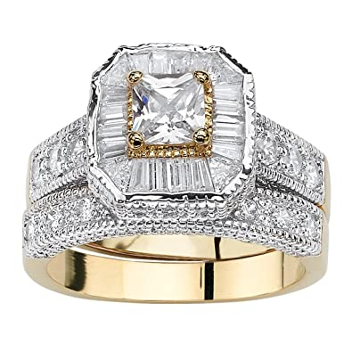 Jewelry & Watches Ring Marquise Set Zirconium Gold Plated Old Style New Size 50