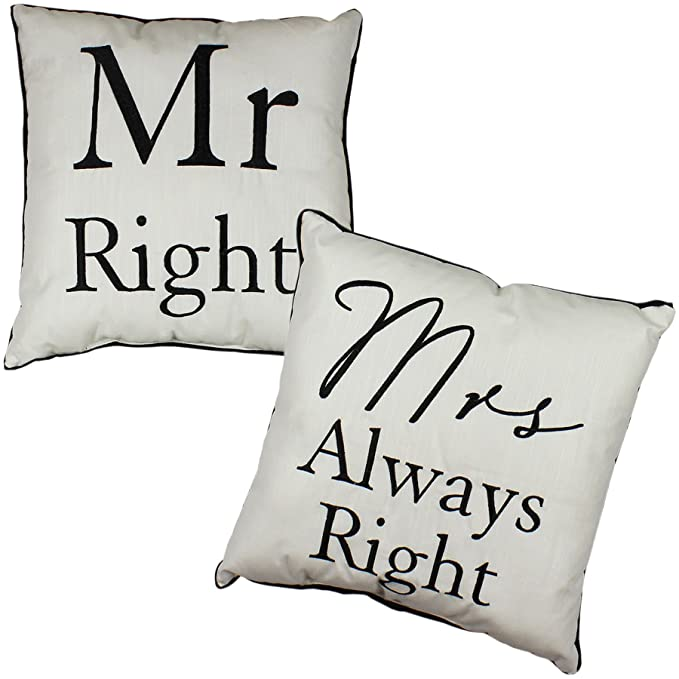 Amazon.com: MR Right & Mrs Always Right cojines Valentines ...
