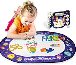 Heeku Aqua Magic Doodle Mat - 40x27 in, Xmas Gifts for Kids, Toddler Painting Writing Water Doodle Board, Educational Toys for Age 2+ (Planet)