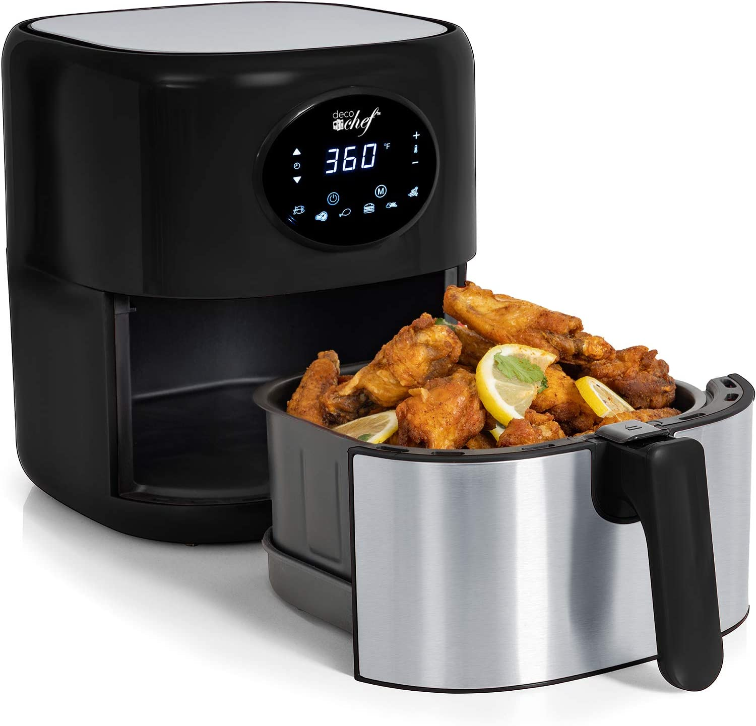 Deco Chef 3.7QT Digital Air Fryer with 6 Cooking Presets, LED Touch Controls, Adjustable Temperature and Time, Detachable Dishwasher Safe Non-Stick Basket, ETL Certified, Black