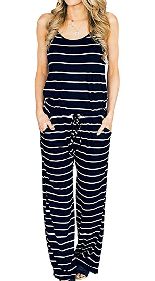 6599e3260df6 Amazon.com  Elsofer Women s Summer Striped Spaghetti Strap Jumpsuit Casual  Stretchy Sleeveless Wide Long Pants Rompers with Pockets  Clothing