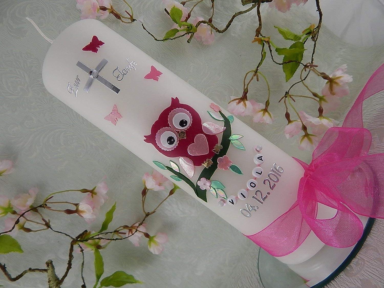 Taufkerze Eule rosa pink Kreuz silber Taufkerzen Mädchen mit Name und Datum