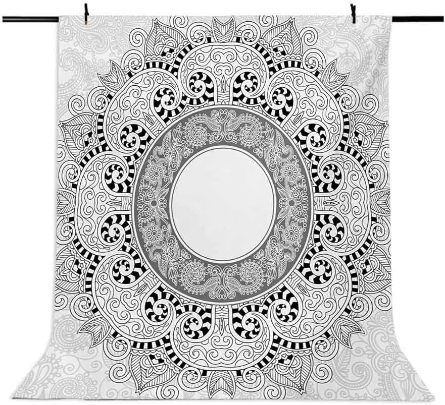 10x12 FT Photography Backdrop Traditional Design with Ornamental Circle Flower Image Background for Baby Birthday Party Wedding Vinyl Studio Props Photography Black and White