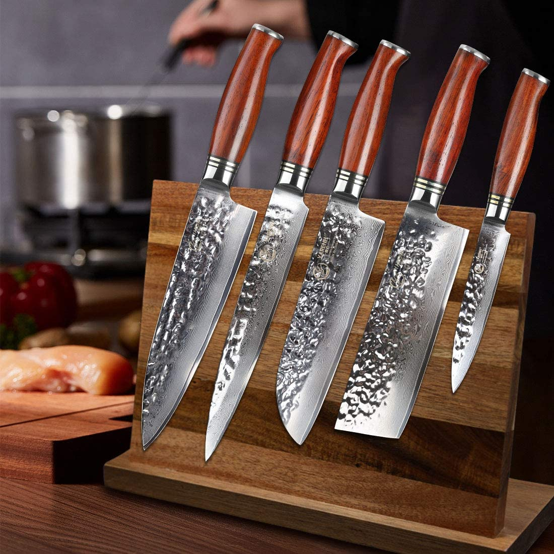 YARENH Kitchen Knife Set Professional 5 Piece Chef Knife Set - Damascus Stainless Steel - Galbergia Wood Handle,Gift Box Packaging,Sharp Vegetable ...