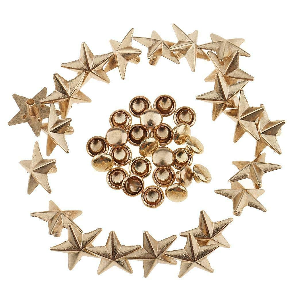 20pcs Metal Star Rivets Punk Stud Spikes Fasteners for Leather Bag Jeans 13mm