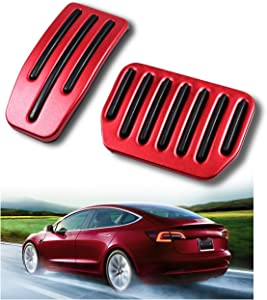 Tesla Model 3 Foot Rest Dead Pedal Cover Aluminum Anti-Slip Performance Accelerator Foot Pedals(A Set of 2) (Red)