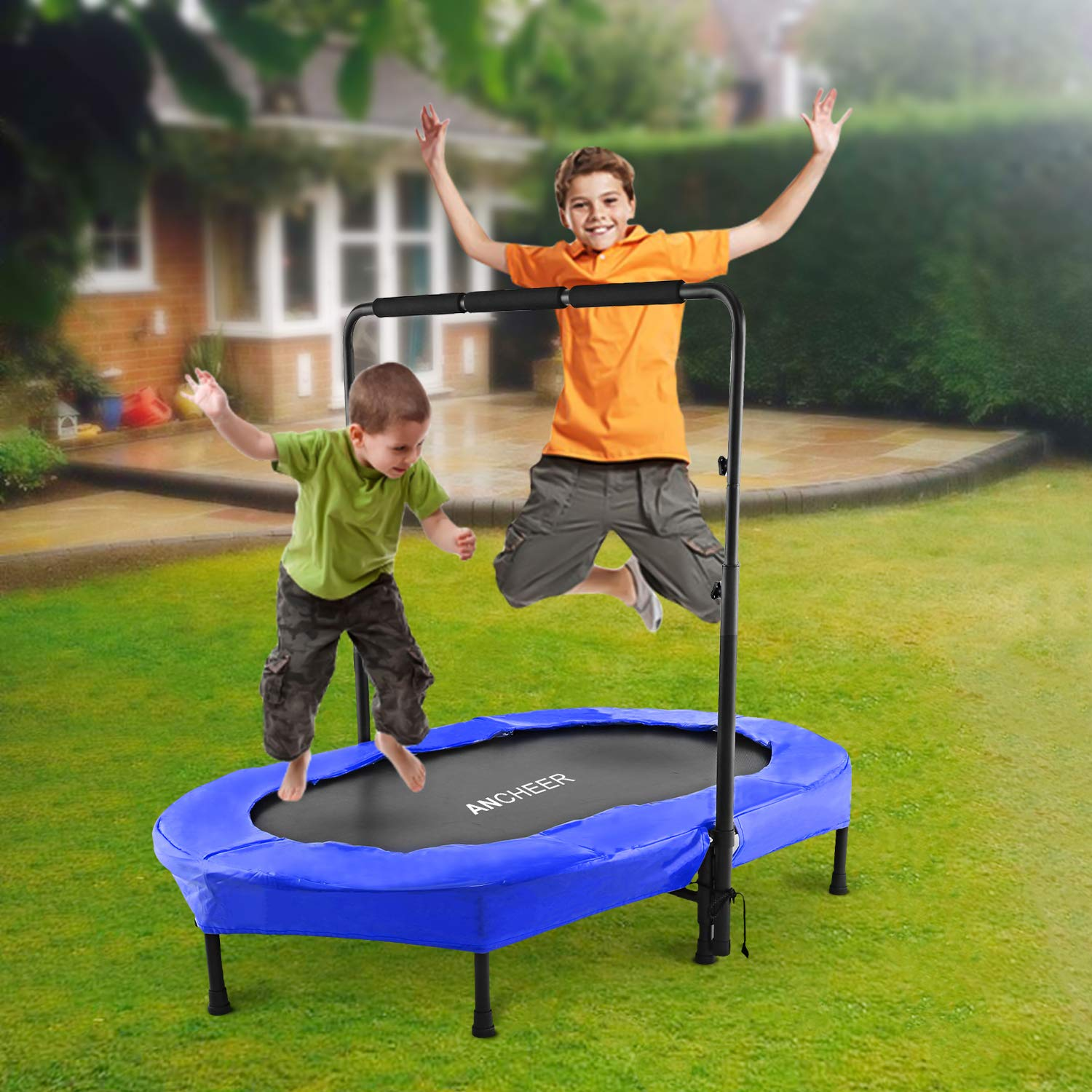 ANCHEER Rebounder Trampoline, Foldable Exercise Trampoline with Adjustable Handrail for Adults Kids, Parent-Child Mini Trampoline for Two Kids ( 37.8'' - 50'')