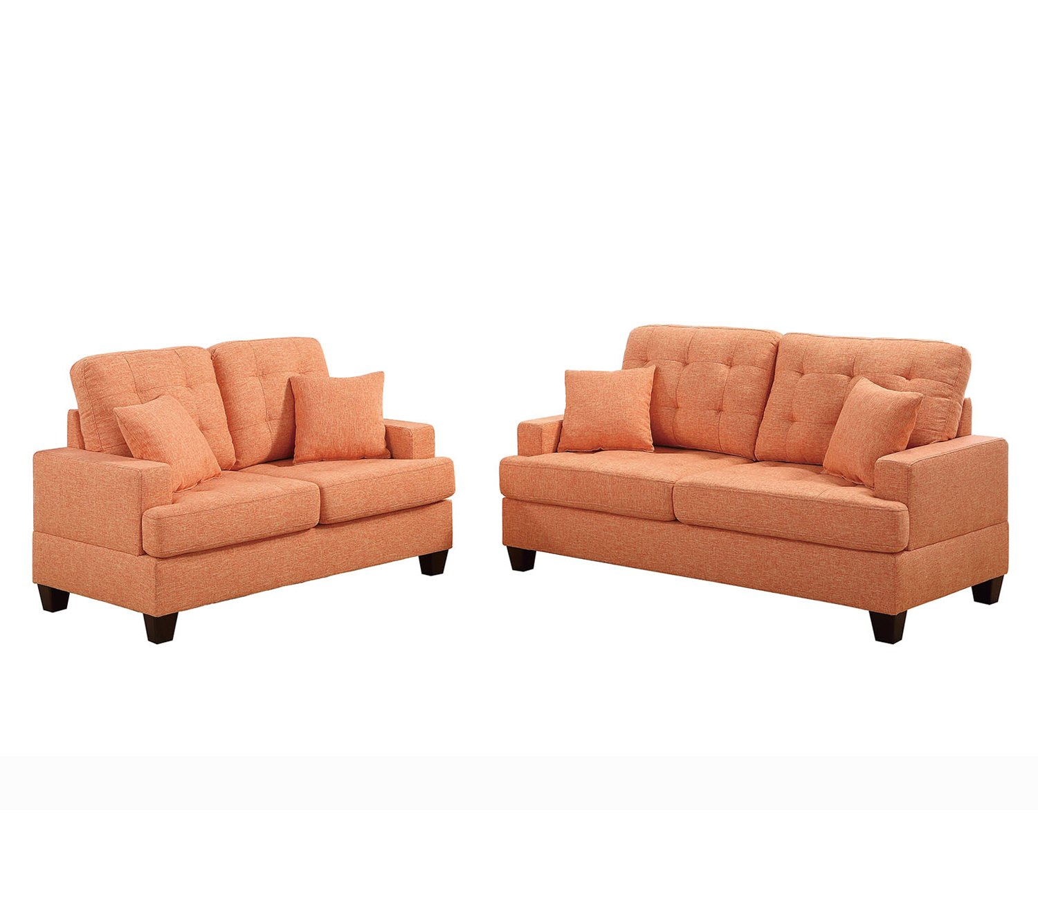 Amazon.com: Poundex F6501 Bobkona Oleta Sofa and Loveseat, Coffee ...