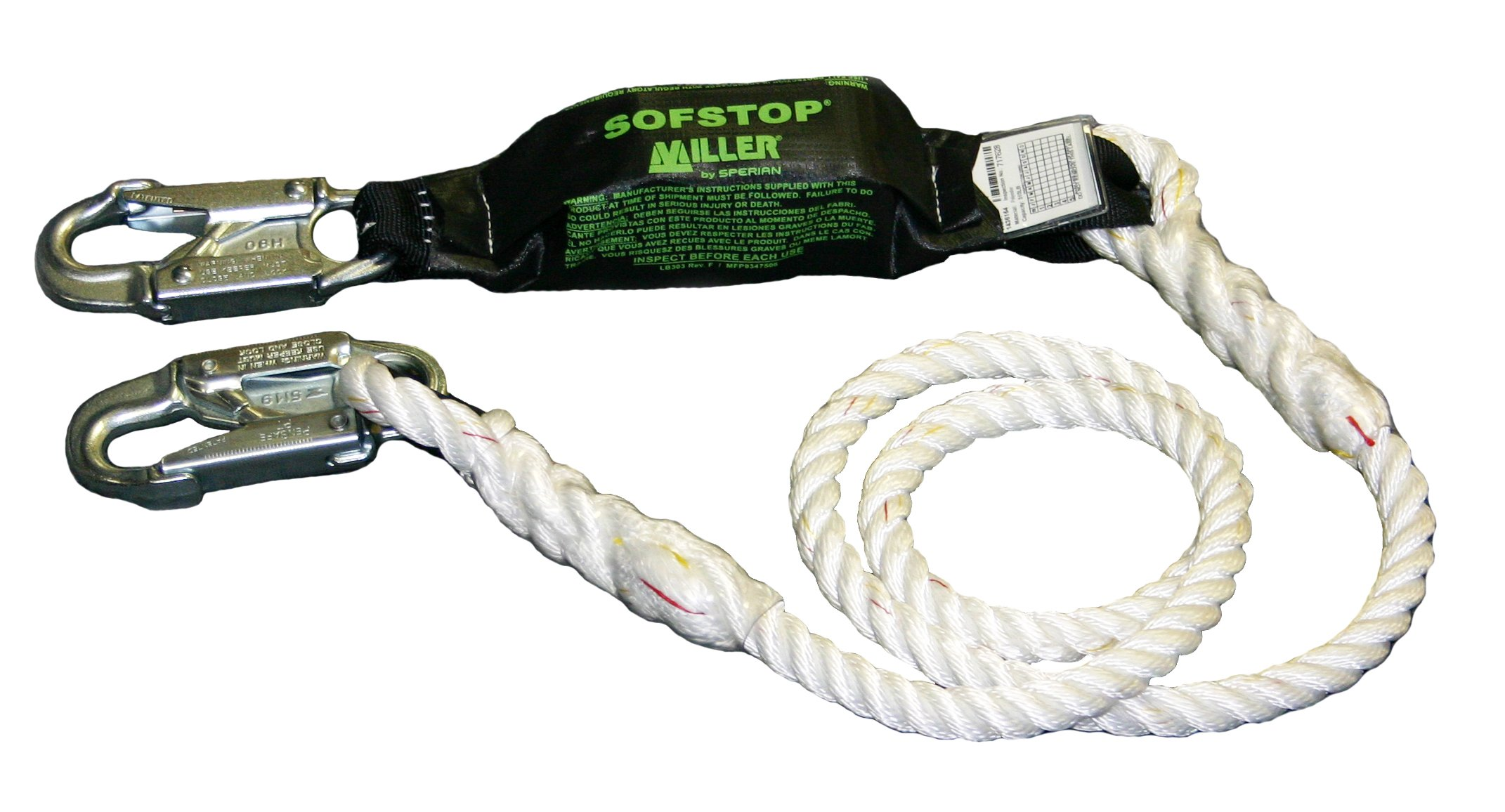 Miller by Honeywell 903RLS-8/12FTWH 1/2-Inch, 12-Feet Nylon Adjustable Rope Lanyard with Sofstop Shock Absorber and Two Locking Snap Hooks, White