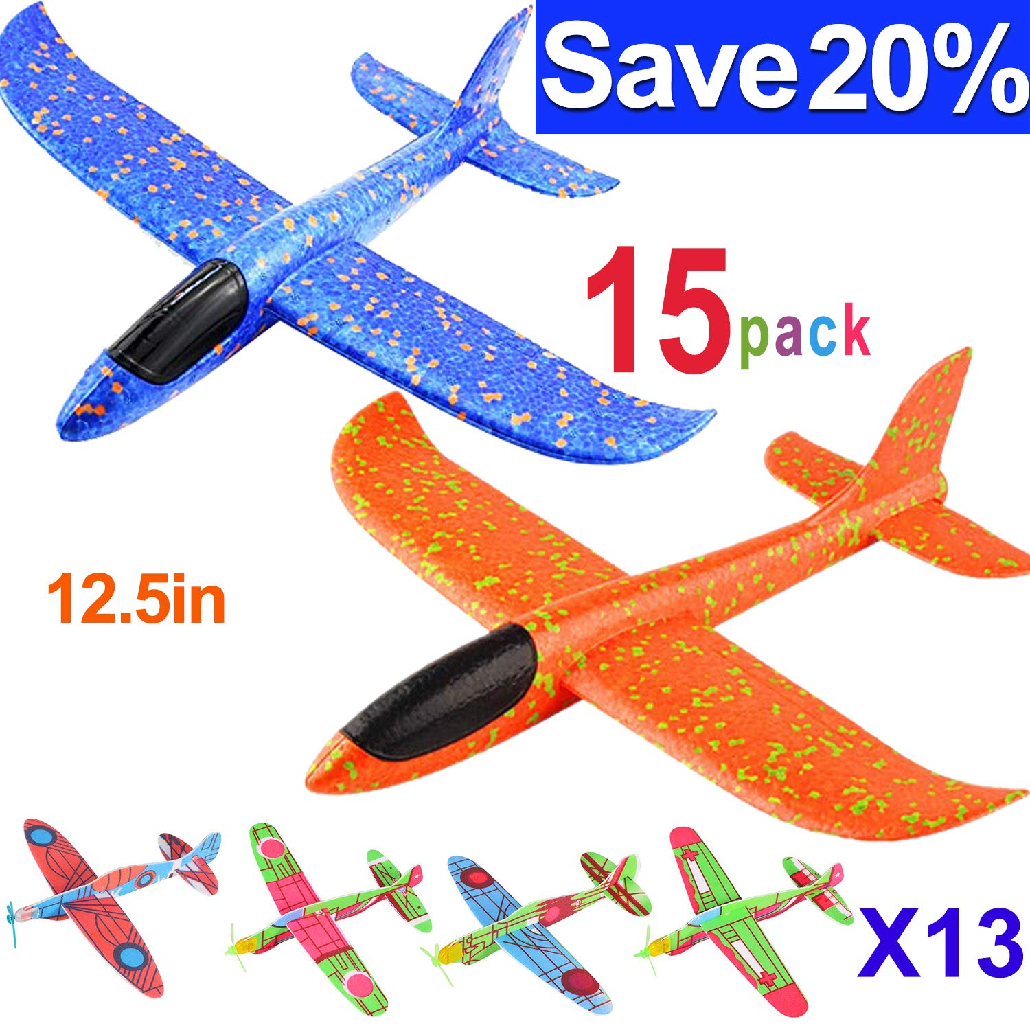 12.5'' Glider Planes,Throwing Foam Airplane ,Dual Flight Mode,Flying Aircraft, Airplane Toy for Kids 3 4 5 6 7 Years Old,Outdoor Sport Game Toys, Boys Girls Flying Party Favors Birthday Gifts by Jupitaz (Image #1)