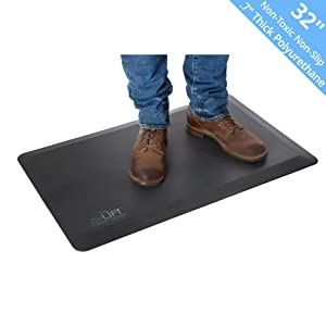 """Seville Classics AIRLIFT 32"""" Anti-Fatigue Standing Desk Comfort Mat Antimicrobial Waterproof Non-Toxic Polyurethane, 32"""" x 20"""" x .7"""" thick, Black"""
