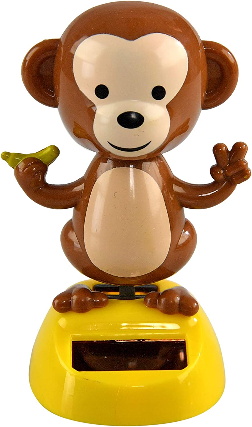 "Home-X Solar-Power Dancing Monkey Figure, Office Décor, 3 3/4"" Tall"