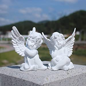 OwMell Set of 2 Cherubs Angels Resin Garden Statue Figurine, Indoor Outdoor Home Garden Decoration, Adorable Angel Sculpture Memorial Statue 4""