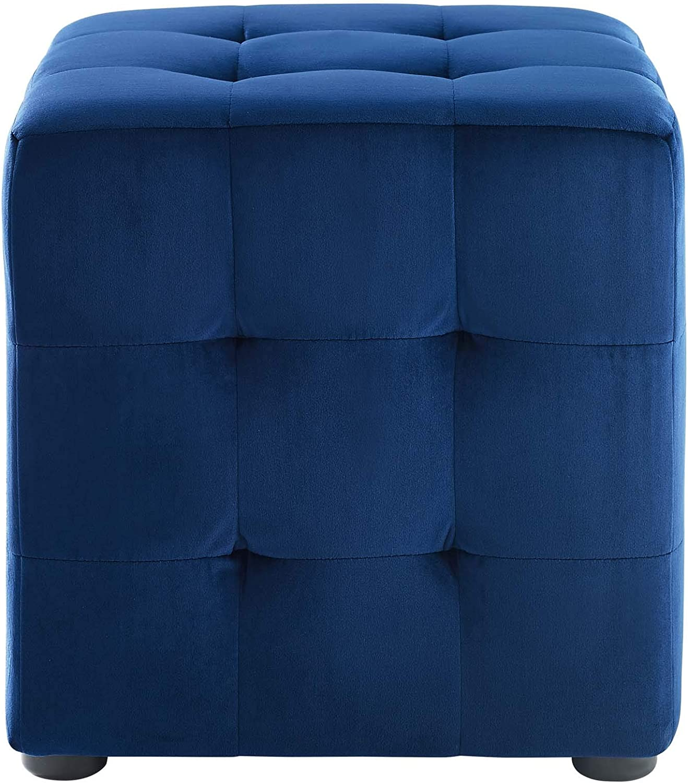 Light Blue Modway EEI-3577-LBU Contour Tufted Button Cube Performance Velvet Ottoman