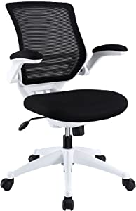 Modway Edge Mesh Back and Black Mesh Seat Office Chair With White Base And Flip-Up Arms in Black