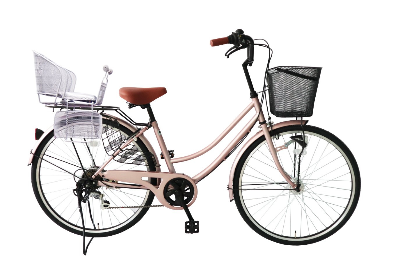 Lupinusルピナス 自転車 26インチ 未使用品 LP-266UA-KNR-S 軽快車 シマノ外装6段ギア B07CPTR8SDシャンパンピンク SALE開催中 後子乗せシルバー オートライト
