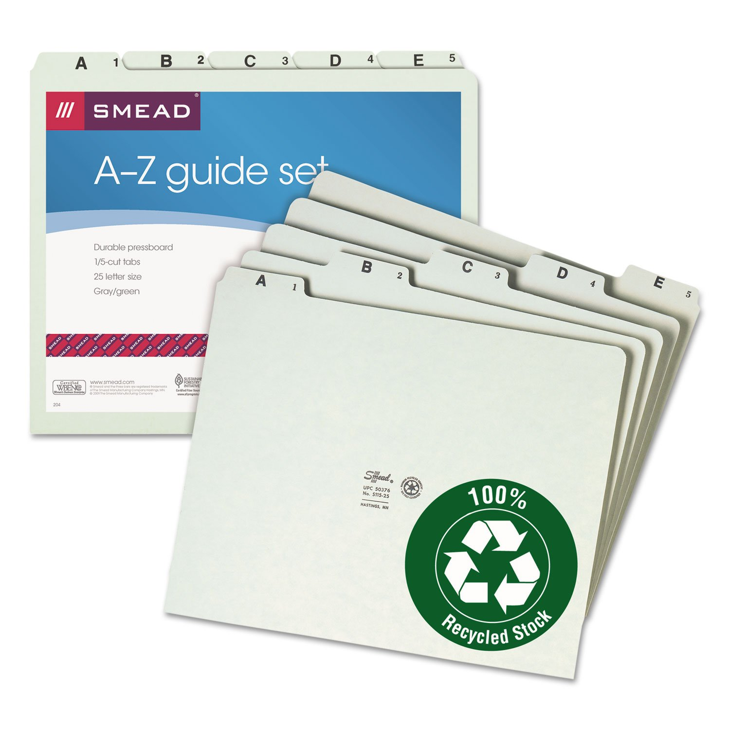 Smead 50376 Recycled Top Tab File Guides Alpha 1 5 Tab Pressboard Letter 25 Set Trueyogaevergreen Com