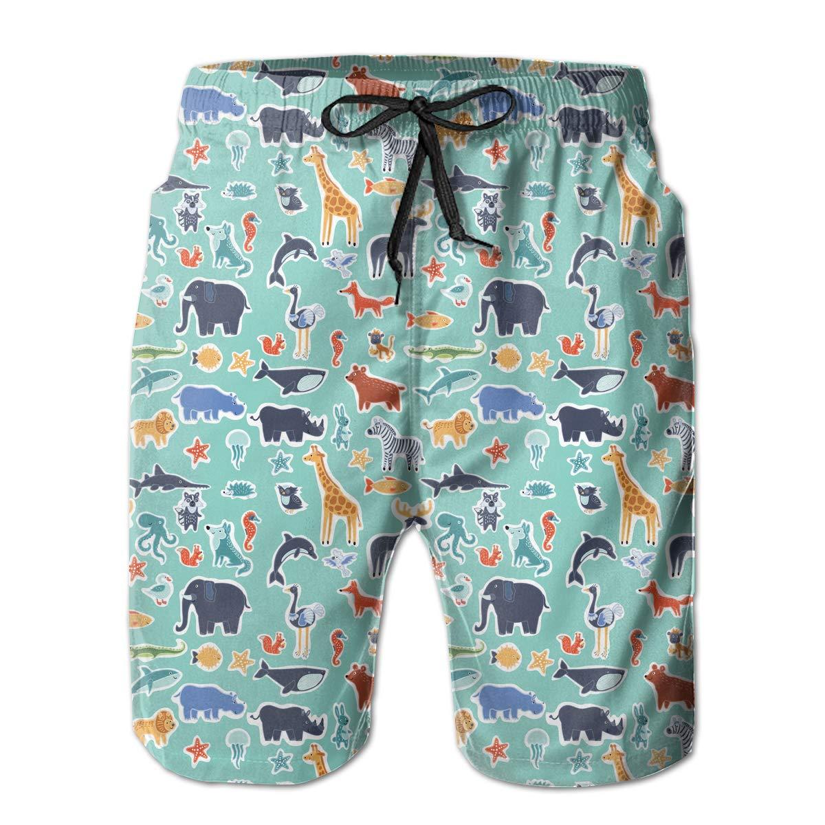 Cute Wild Animals Pattern Mens Printing Board//Beach Shorts Casual Classic Pockets Swimming Shorts