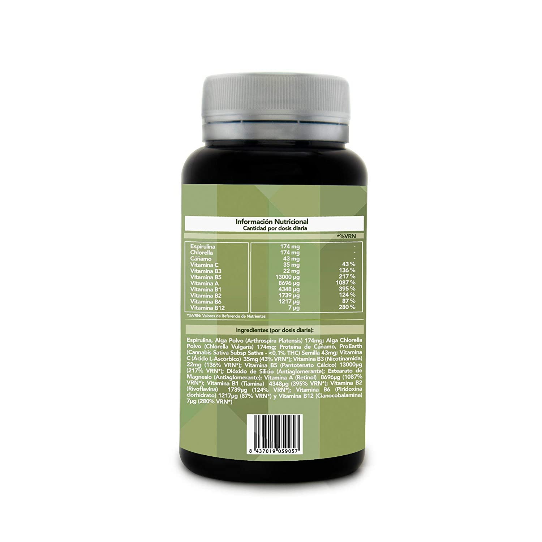 Multivitamínico 100% Vegetal con Espirulina + Chlorella + Vitaminas A, B1, B2, B3, B5, B6, B12 y C - Protege y Fortalece tus Defensas - Aporta Energía y ...