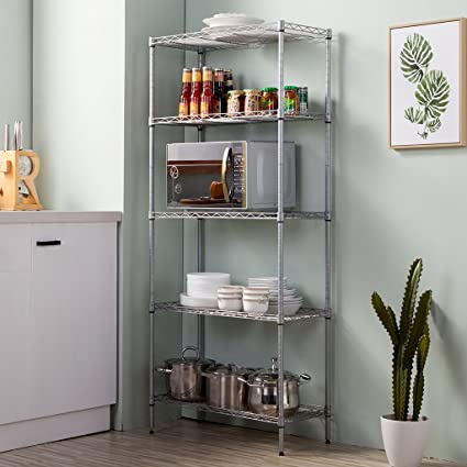 LANGRIA 5 Tier Stand Storage Rack, Kitchen Wire Shelving With Spice Rack  Organizer, Silver